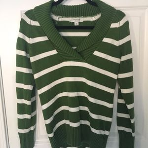Green striped fold over collar sweater Size XS